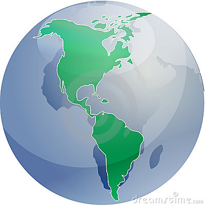 Map of the Americas on globe