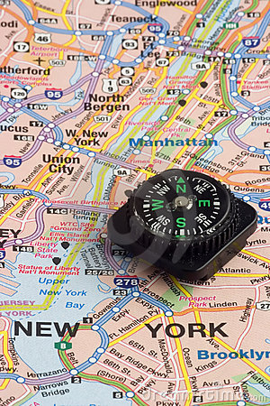 Free Map And Compass Royalty Free Stock Photography - 1482327