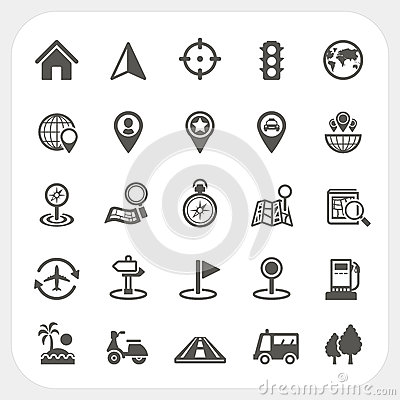 Free Map And Location Icons Set Stock Images - 39054284