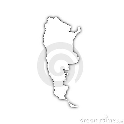 Map of argentina with shadow