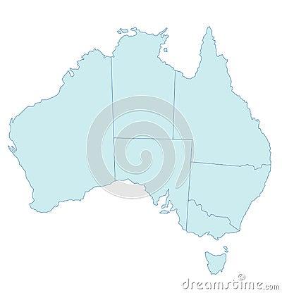Map of Australia - Blue Tone