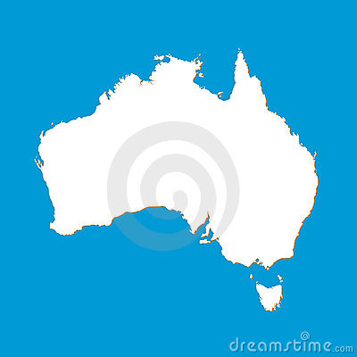 Map of the Australia drawn