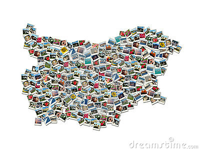 Map of Bulgaria - collage made of travel photos