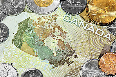 Map of Canada on money bill Editorial Photo
