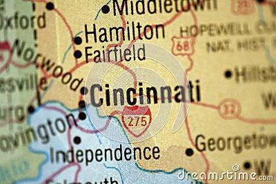 Map of Cincinnati Ohio
