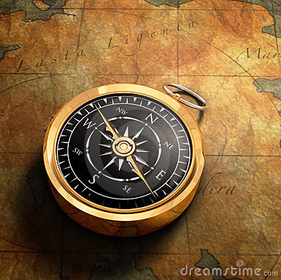 Free Map & Compass Stock Photo - 4243200
