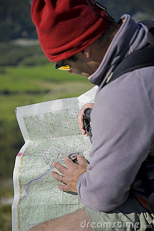 Map and compass orienteering outdoors