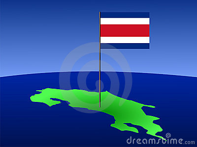 Map of Costa Rica with flag
