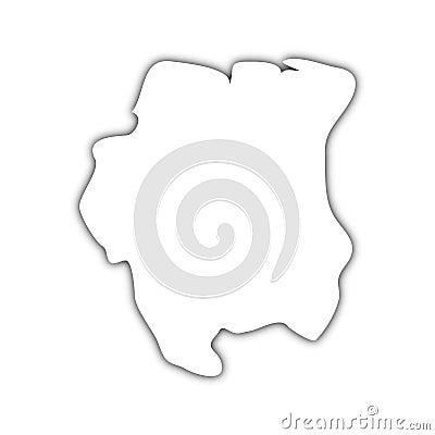 Map of dutch guiana with shadow