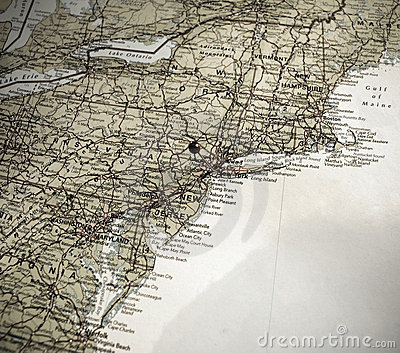 A map of the east coast of America, push pin in NY