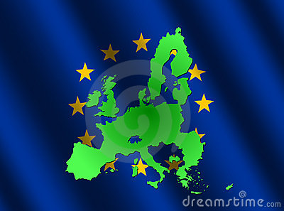 Map of EU on rippled flag