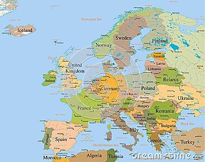 Map Europe - detailed