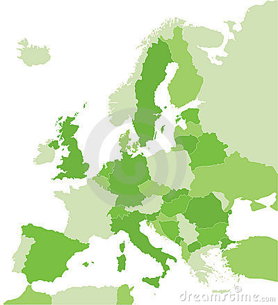 Map of Europe in green