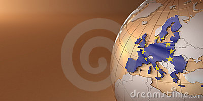 Map of the European Union on Earth