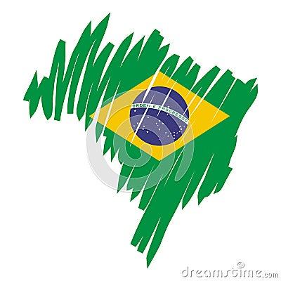 map flag Brazil (vector)