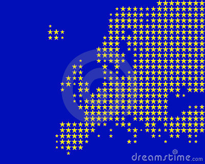 Map and flag of Europe