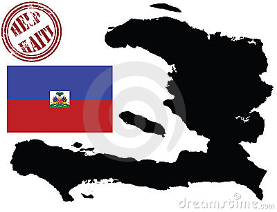 Map and flag of haiti
