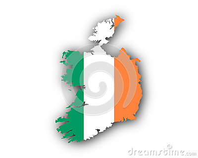 Map and flag of Ireland Vector Illustration