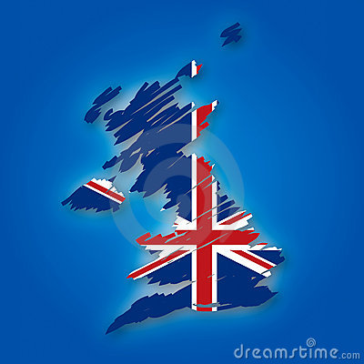 Map and the flag of the United Kingdom