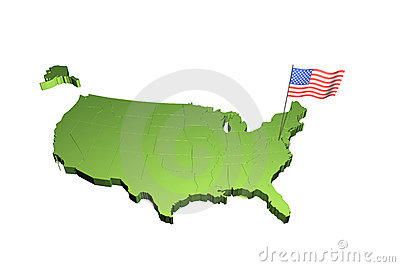 Map and flag of USA