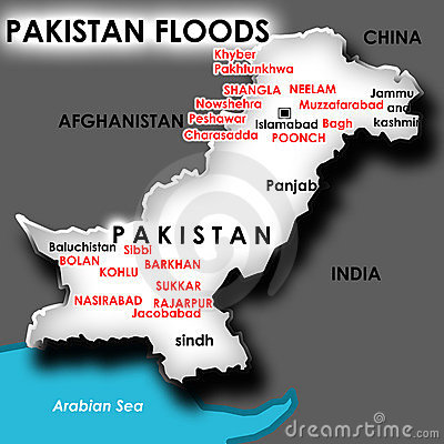 Map of flood in Pakistan