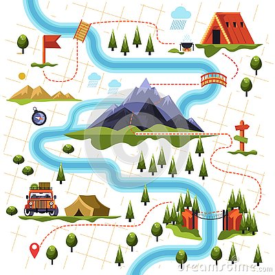 Map of forest or woods and mountain hiking tourism Vector Illustration