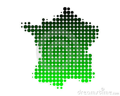Map of France in green dots