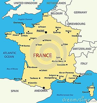 Map of France - illustration - vector