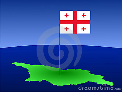 Map of Georgia with flag