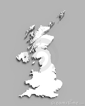 Map of Great Britain on gray