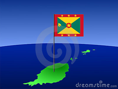 Map of Grenada with flag