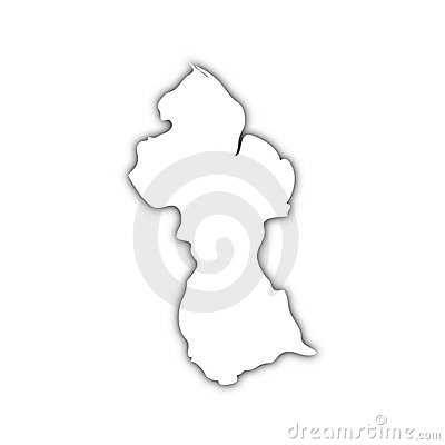 Map of guyana with shadow