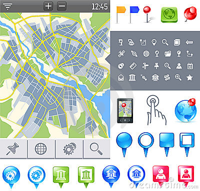 Free Map-icon-gps Stock Image - 21297271