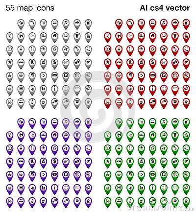Map icons set - 4 colors