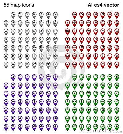 Map icons set - 4 colors