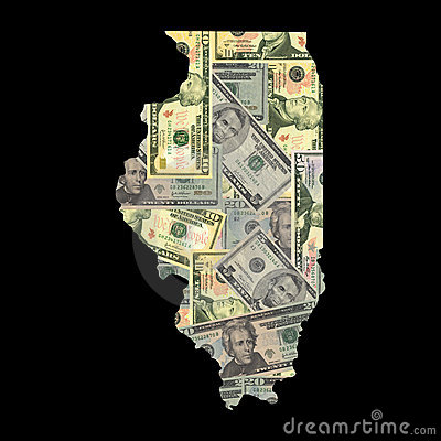 Map of Illinois with dollars