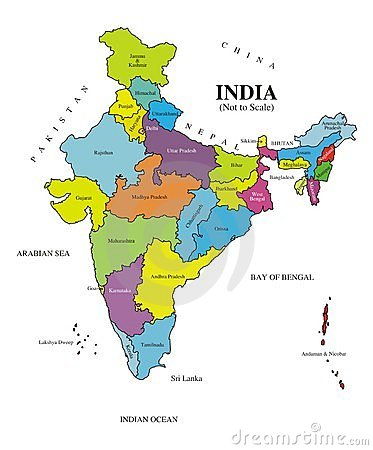 Free Map India [Labeled] Authentic Royalty Free Stock Photo - 4933985