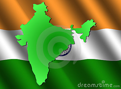 Map of India on rippled flag
