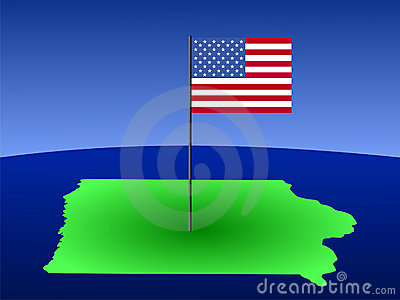 Map of Iowa with flag