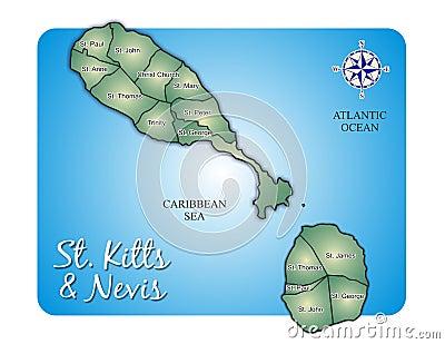 Map of Island St. Kitts (Saint Christopher/Nevis)