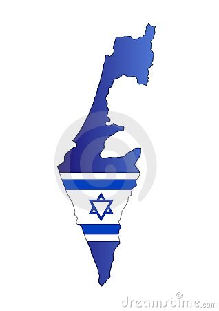 Map Israel and flag