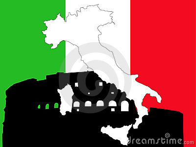 Map of Italy on Italian flag
