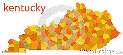 Map of kentucky, usa