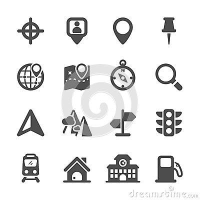 Free Map Location Icon Set, Vector Eps10 Royalty Free Stock Photography - 52327067