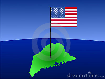 Map of Maine with flag