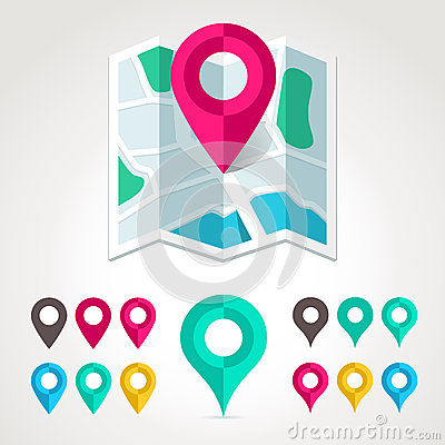 Free Map Markers And Flat Map Icon Royalty Free Stock Photo - 31844495