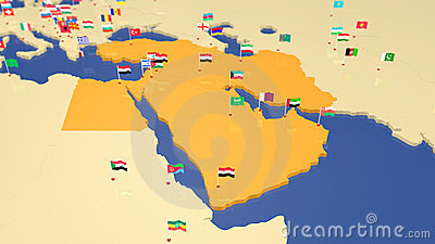 Map of Middle East with national flags