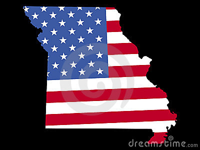 Map of Missouri with flag
