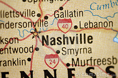 Map of Nashville Tennessee