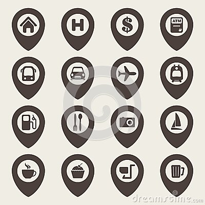Free Map Navigation Icon Set Royalty Free Stock Photography - 33800787